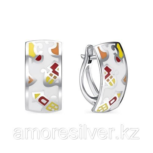 Серьги Алькор серебро с родием, эмаль, абстракция 02-0724/ЭМ66-00