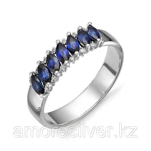 Кольцо Алькор серебро с родием, сапфир гт фианит, дорожка 01-0271/0ГТС-00