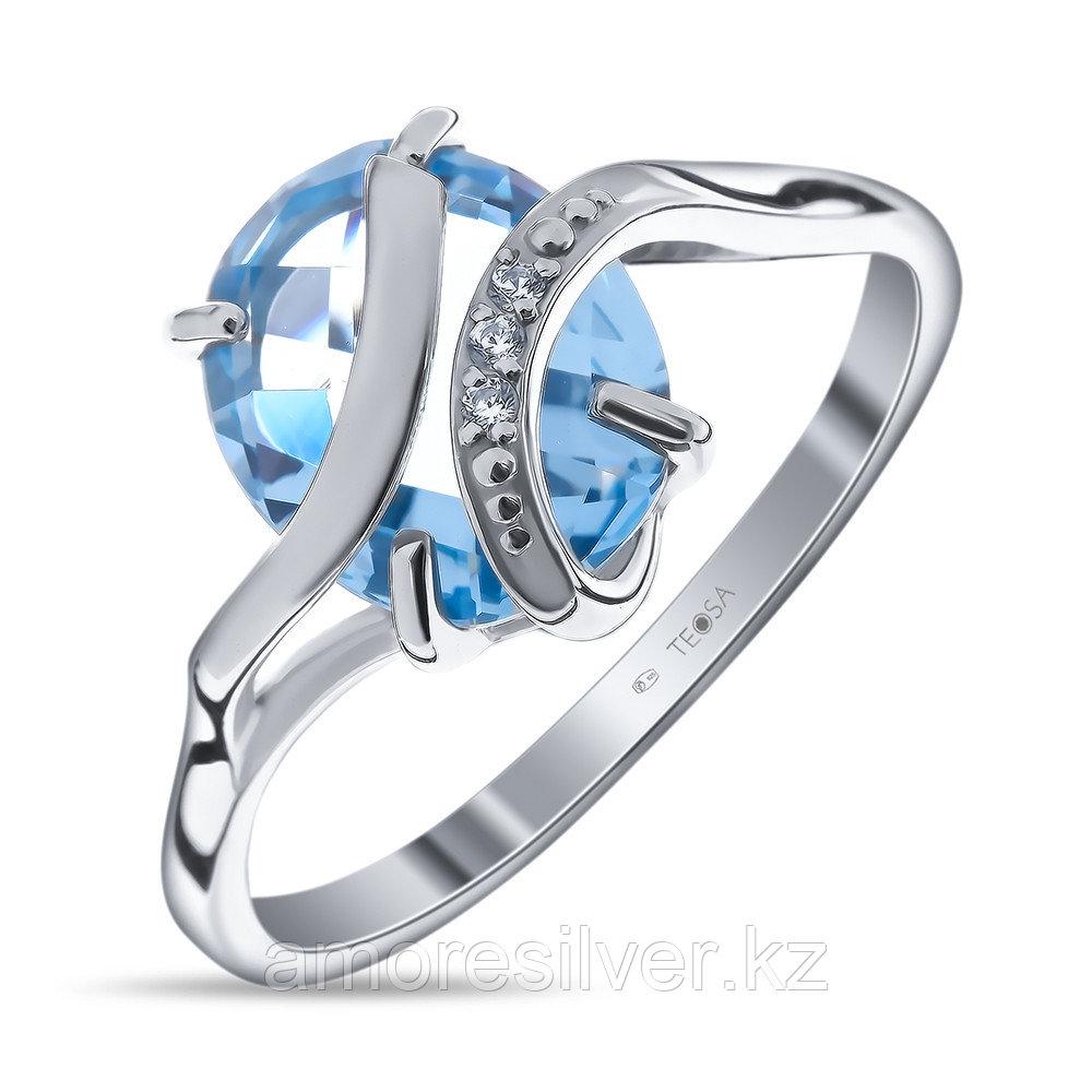 "Кольцо TEOSA серебро с родием, топаз фианит, ""halo"" 11223-101-9"