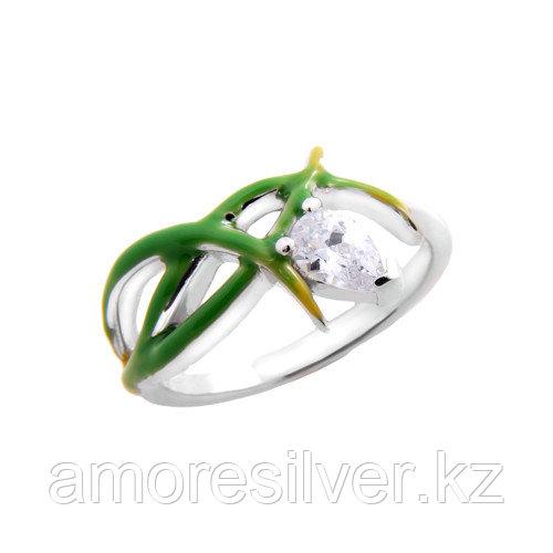 Кольцо TEOSA серебро с родием, фианит эмаль, флора R1318-CZE-RR