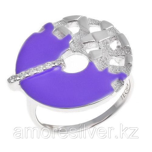 Кольцо TEOSA серебро с родием, фианит эмаль, круг R1406-CZS-RR-V