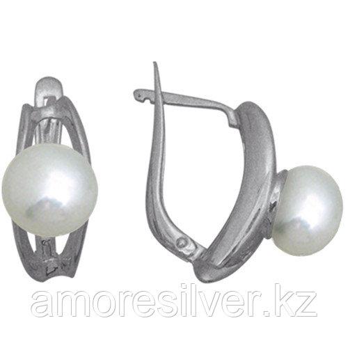 Серьги TEOSA серебро с родием, жемчуг, модное 290-5-021