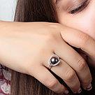 """Кольцо ЮК """"Серебро"""" серебро с родием, жемчуг черный культ. фианит, """"линии"""" MR3081-BL, фото 2"""