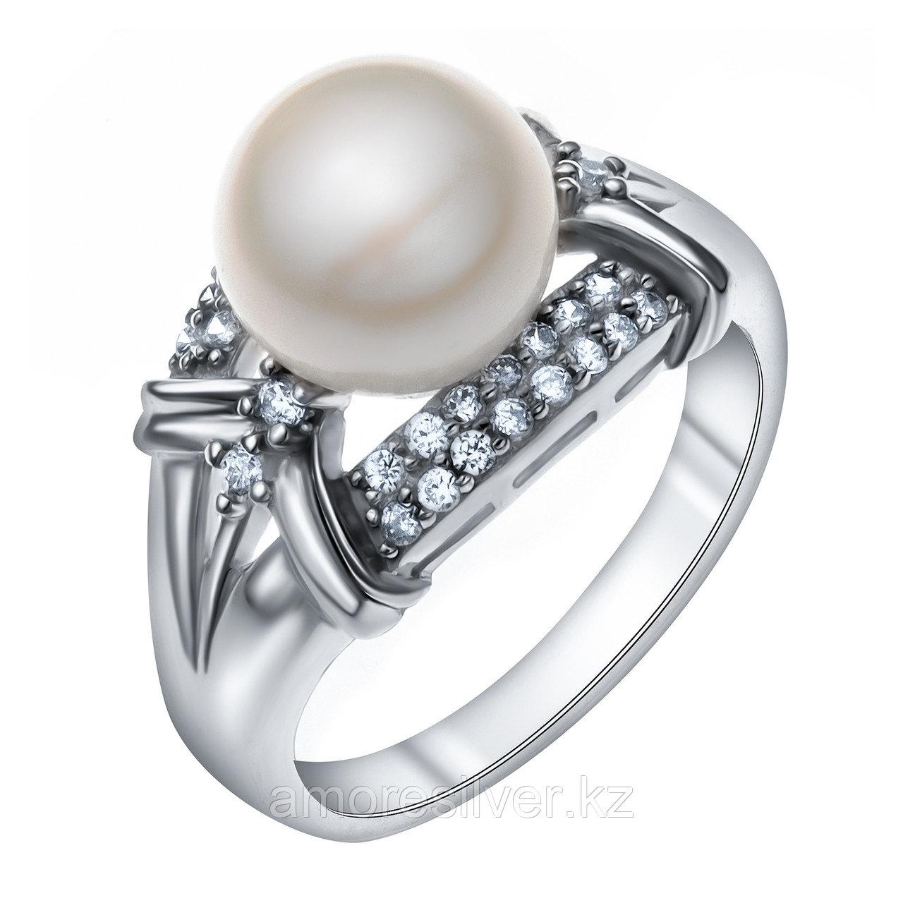 Кольцо TEOSA серебро с родием, жемчуг культ. фианит, капля SR2144-W