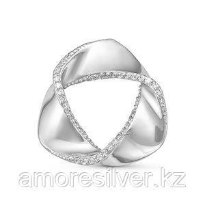 Брошь Delta серебро с родием, фианит, круг с060132