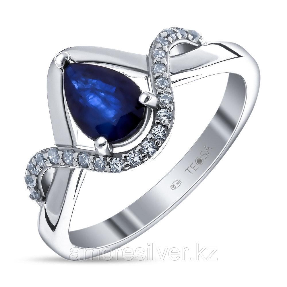 """Кольцо TEOSA серебро с родием, сапфир фианит, """"halo"""" R-DRGR00641-SP"""