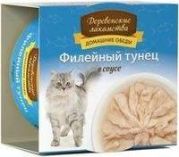Деревенские лакомства консервы для кошек 80 гр тунец соус