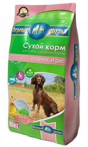 Верные друзья корм сухой для собак 15 кг средних пород с ягненком и рисом