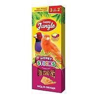 Лакомство для попугаев Happy Jungle Палочки мед, овощи 3 шт