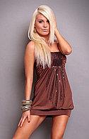 Клубное коричневое платье с паетками