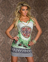 Зеленое,легкое летнее платье с павлиными перьями