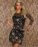 Ажурное золотисто-черное платье