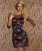 Ажурное розово-черное платье