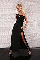 Макси платье черное на одно плечо с цветком