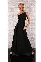 Черное длинное платье на одно плечо