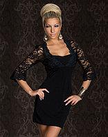 Черное платье с гипюровым балеро слитное