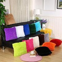 Комплект наволочек на подушки декоративный «Травка» с длинным и пушистым ворсом {42х42 см, 2 шт.} (Черный)