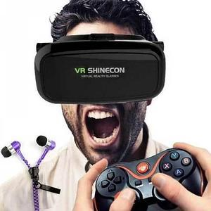 Комплект для игр в виртуальной реальности VR SHINECON 360° + bluetooth-геймпад + наушники-молния