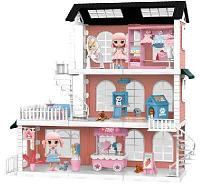 Модульный домик (собери сам), 8 секций. Мини-куколки с питомцами в гостинной, в столовой, на кухне