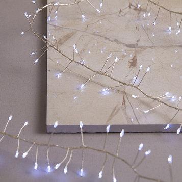 """Гирлянда """"Мишура"""" 2 м роса, IP65, серебристая нить, 200 LED, свечение белое, 8 режимов, 4.5 В"""
