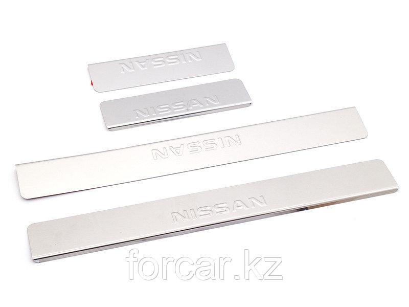 Накладки внутренних порогов NISSAN Sentra (2014->) (нерж. сталь) (к-т 4 шт.)