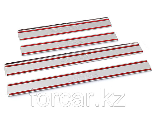 Накладки внутренних порогов SKODA Rapid (нерж. сталь) (к-т 4 шт.), фото 2