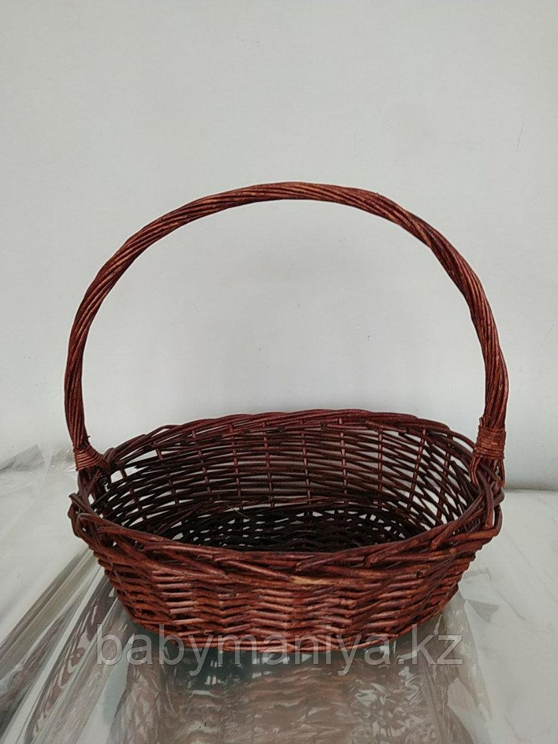 Корзина плетеная  из лозы Круглая Коричневая 40 см