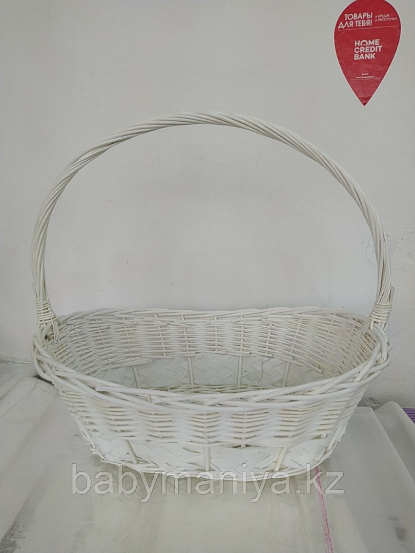 Корзина плетеная из лозы Белая 55 см