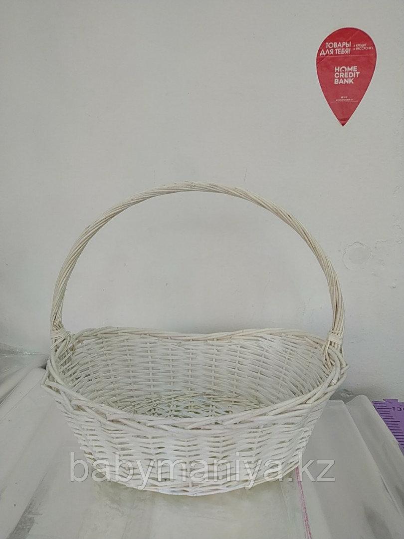Корзина плетеная из лозы Белая 50 см