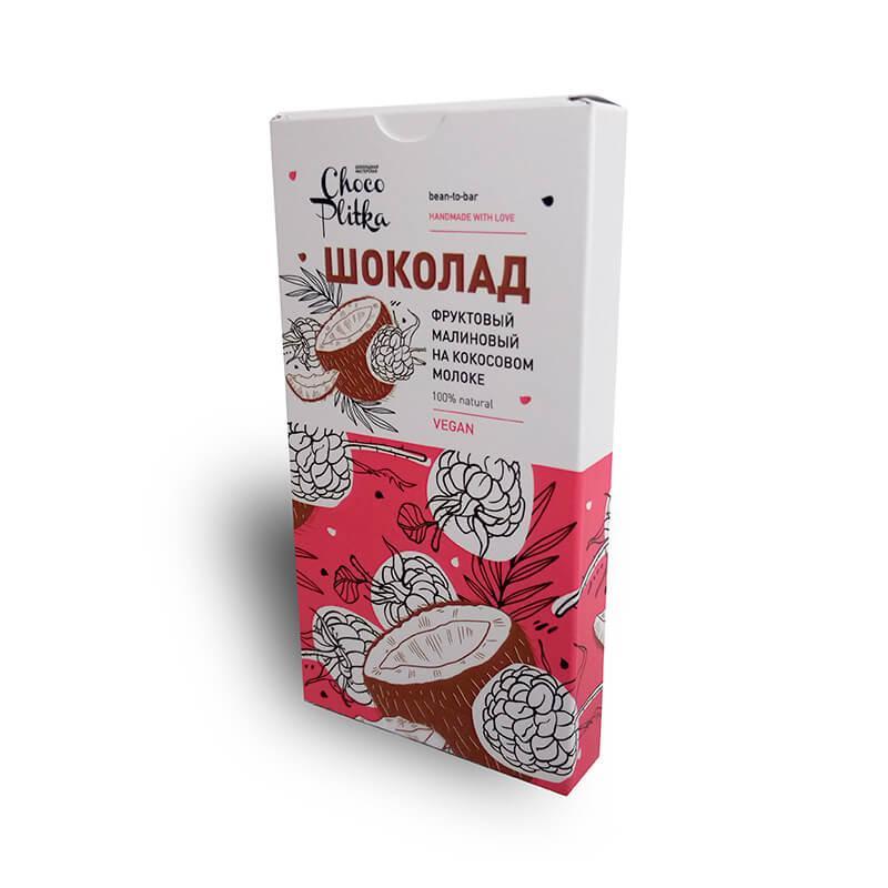 Шоколад Малиновый на Кокосовом молоке ChocoPlitka