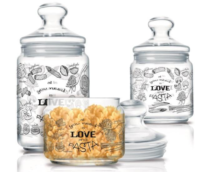 Набор банок для хранения продуктов Luminarc Love Pasta 3 шт.