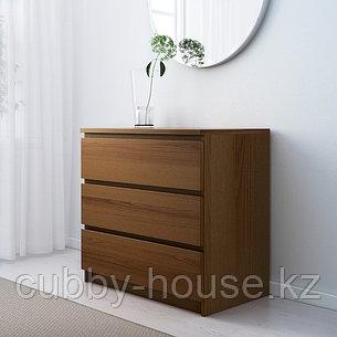 МАЛЬМ Комод с 3 ящиками, белый, 80x78 см, фото 2