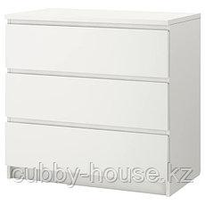 МАЛЬМ Комод с 3 ящиками, белый, 80x78 см, фото 3
