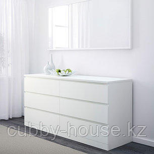 МАЛЬМ Комод с 6 ящиками, белый, 160x78 см, фото 2