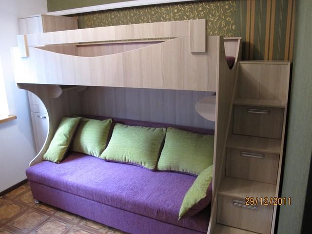 Кровать 2х ярусная с диваном