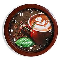 """Часы настенные """"Кофе"""", коричневый обод, 28х28 см"""
