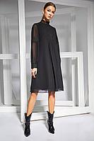 Женское осеннее шифоновое черное нарядное платье Kaloris 1652 44р.
