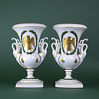 Парные кубки с гербом Наполеона Бонапарта. Лиможская фарфоровая мануфактура.