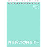 "Блокнот А6 80л. на гребне Hatber ""NEWtone Pastel. Мята"", 80г/м2, пластиковая обложка 80Б6A1гр_05039"