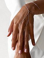 Серебряный браслет-слейв на цепочке на руку