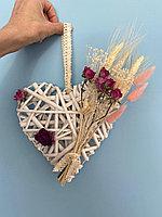 Композиция из сухоцветов в сердечке (натуральная лоза)