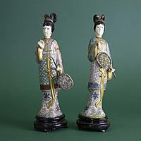 Девушки в кимоно. Слоновая кость ручная резьба, бронза, перегородчатая эмаль (клуазоне)