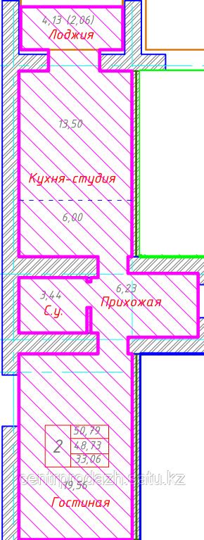 2 комнатная квартира в ЖК Будапешт 50.79 м²