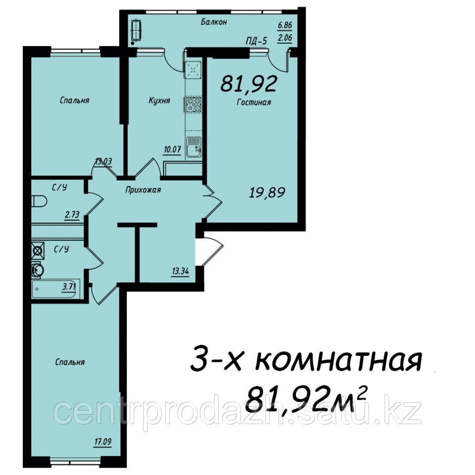 """3 ком в ЖК """"Jeruiyq"""" 81.92 м²"""