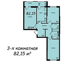 """3 ком в ЖК """"Jeruiyq"""" 82.15 м²"""