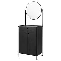 Тумба с зеркалом, КОРНШЁ, черный 70x47 см Икея