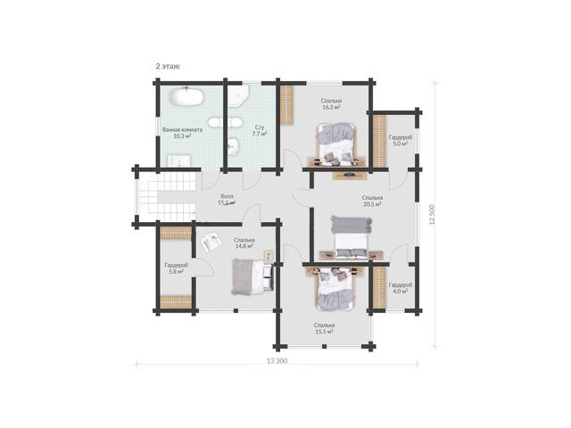 Проект двухэтажного дома из бруса с сауной, план двухэтажного дома и строительство под ключ, проектирование и строительство деревянных домов.
