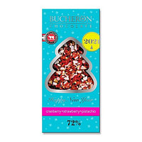 Шоколад горький с клюквой, клубникой и фисташками, новогодний Bucheron, 100 гр