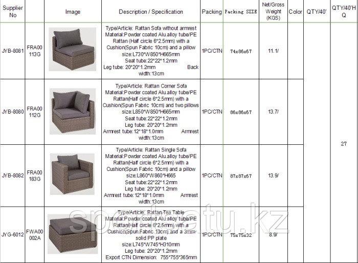 Набор мебели, диван + стол (из искусственного ротанга) - фото 2