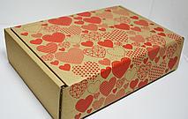 """Подарочная коробка """"Сердечки"""" бурая (315*215*80)"""